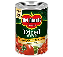 Del Monte Tomatoes Diced California with the Flavors of Basil Garlic & Oregano - 14.5 Oz