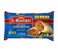 El Monterey Frozen Mexican Food Chimichangas Beef & Bean 8 Pack - 32 Oz