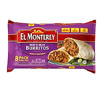 El Monterey Frozen Mexican Burritos Beef & Bean Family Size 8 Count - 32 Oz