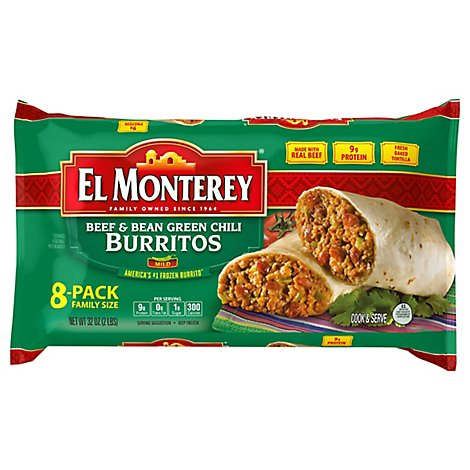 El Monterey Frozen Mexican Burritos Beef & Bean Green Chili Family Size 8 Count - 32 Oz