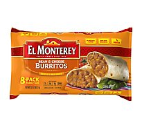 El Monterey Frozen Mexican Burritos Bean & Cheese Family Size 8 Count - 32 Oz