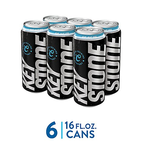 Keystone Ice Lager Beer Cans 5.9% ABV - 6-16 Fl. Oz.