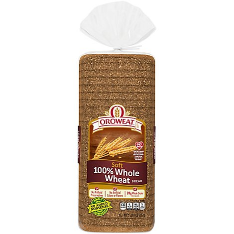 Oroweat Bread 100% Whole Wheat Soft - 20 Oz