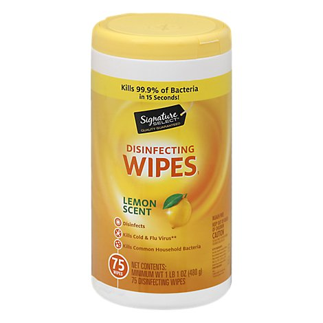 Signature SELECT/Home Disinfecting Wipes Lemon Scent - 75 Count