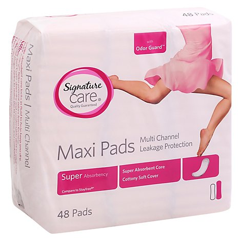 Signature Care Pads Maxi Multi Channel Leakage Protection Super Absorbency - 48 Count