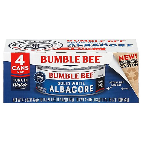 Bumble Bee Tuna Albacore Solid White in Water - 4-5 Oz