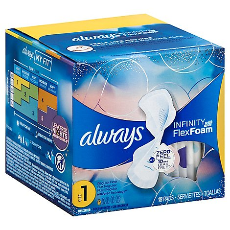 Always Infinity Pads FlexFoam Size 1 Regular Absorbency Unscented - 18 Count