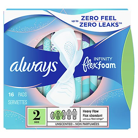 Always Infinity Pads Flex Foam Heavy Flow Unscented - 16 Count