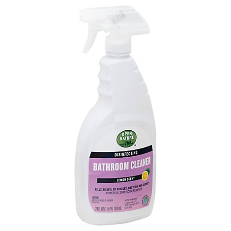 Open Nature Bathroom Cleaner Disinfecting Lemon Scent -  24 Fl. Oz.