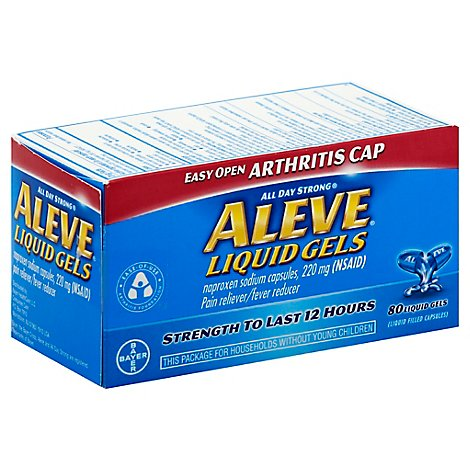 Aleve Naproxen Sodium Tablets 220mg Pain Reliever Fever Reducer - 80 Count