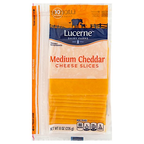 Lucerne Cheese Slices Medium Cheddar - 10 Count