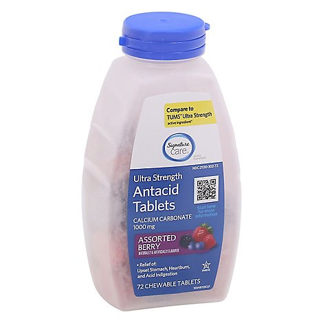 Signature Care Antacid Relief Tablets Chewable Ultra Strength 1000 mg Assorted Berry - 72 Count