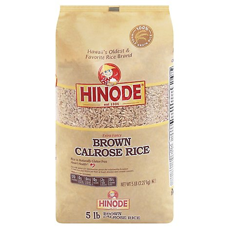 Hinode Rice Brown Calrose Medium Grain Extra Fancy - 5 Lb