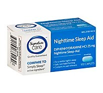 Signature Care Nighttime Sleep Aid Diphenhydramine HCl 25mg Caplet - 100 Count