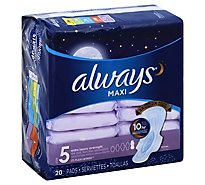 Always Maxi Size 5 Extra Heavy Overnight Pads With Wings Unscented - 20 Count