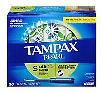 Tampax Pearl Tampons Plastic Super Absorbency Jumbo Unscented - 50 Count
