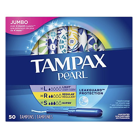 Tampax Pearl Tampons Triple Pack Unscented - 50 Count