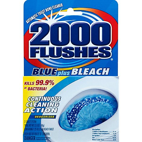2000 Flushes Toilet Bowl Cleaner Automatic Blue Plus Bleach 2 Count - 3.5 Oz