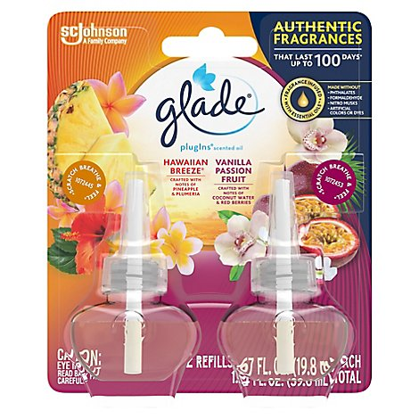 Glade PlugIns Scented Oil Refill Hawaiian Breeze & Vanilla Passion Fruit 1.34 fl oz Pack of 2
