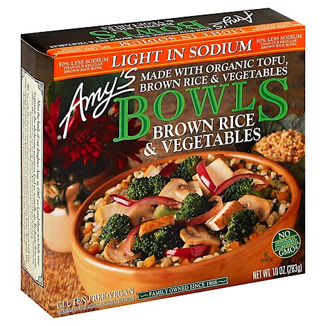 Amys Bowls Brown Rice & Vegetables - 10 Oz