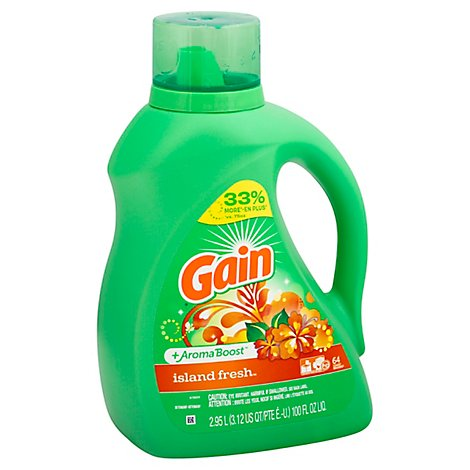 Gain Liquid Detergent Plus Aroma Boost Island Fresh 64 Loads - 100 Fl. Oz.
