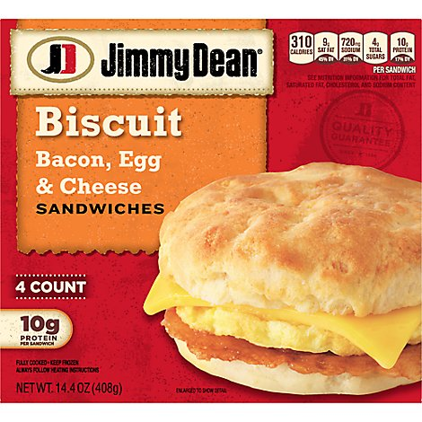 Jimmy Dean Bacon Egg & Cheese Biscuit Sandwiches 4 Count