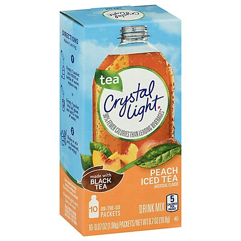 Crystal Light Drink Mix On-The-Go Packets Iced Tea Peach - 10-0.14 Oz