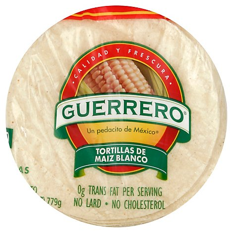Guerrero Tortillas Corn White Maiz Blanco Bag 30 Count - 27.5 Oz