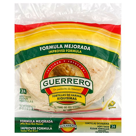 Guerrero Tortillas Flour Soft Taco De Harina Riquisimas Bag 24 Count - 35 Oz