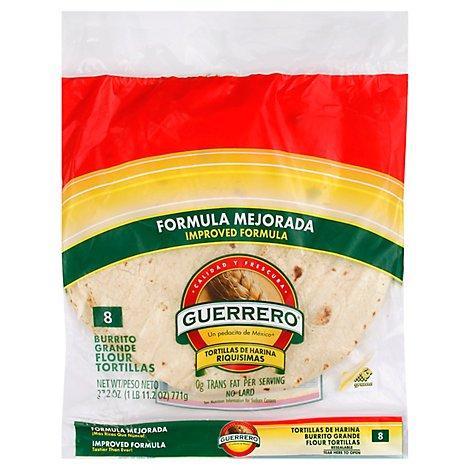 Guerrero Tortillas Flour Burrito De Harina Riquisimas Grande Bag 8 Count 27 2 Oz Vons