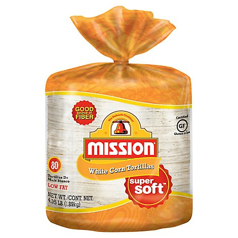 Mission Tortillas Corn White Super Soft Bag 80 Count - 66.67 Oz