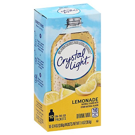 Crystal Light Drink Mix On-The-Go Packets Natural Lemonade - 10-0.14 Oz