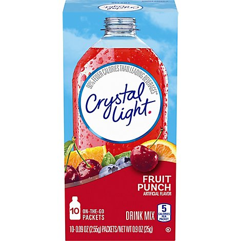 Crystal Light Drink Mix Packets Fruit Punch On The Go - 10-0.09 Oz