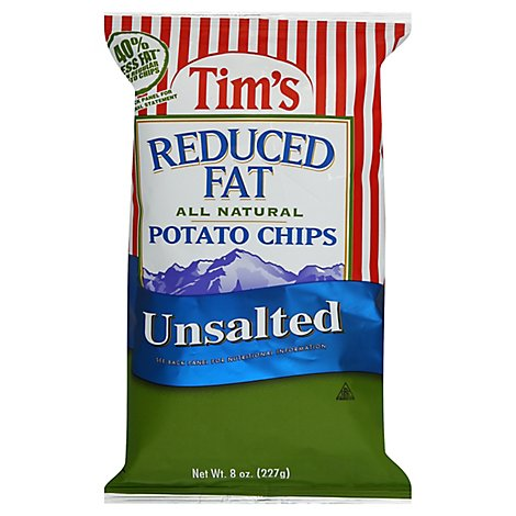 Tims Potato Chips Reduced Fat Unsalted - 8 Oz