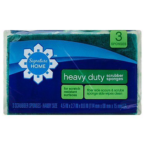 Signature SELECT Scrubber Sponges Heavy Duty Handy Size - 3 Count