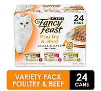 Fancy Feast Cat Food Gourmet Classic Pate Poultry & Beef Feast Variety - 24-3 Oz