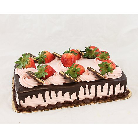 Bakery Cake Round 8 Inch 2 Layer Chocolate With Strawberry - Each