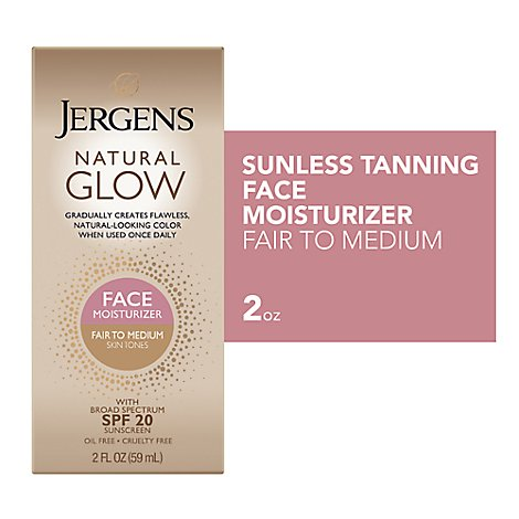 JERGENS Natural Glow Daily Moisturizer Face Sunscreen Fair To Medium Skin Tones - 2 Fl. Oz.