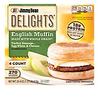 Jimmy Dean Delights Turkey Sausage Egg White & Cheese English Muffin Sandwiches 4 Count