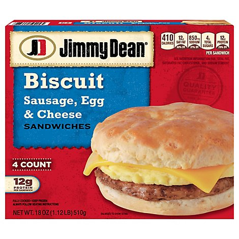 Jimmy Dean Sausage Egg & Cheese Biscuit Sandwiches 4 Count