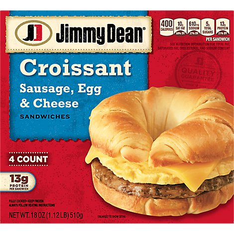 Jimmy Dean Sausage Egg & Cheese Croissant Sandwiches 4 Count