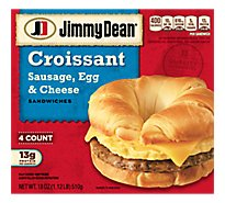 Jimmy Dean Sandwiches Croissant Sausage Egg & Cheese 4 Count - 18 Oz