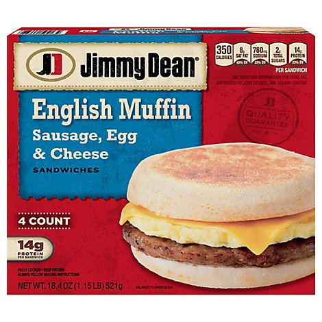 Jimmy Dean Sausage Egg & Cheese English Muffin Sandwiches 4 Count