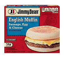 Jimmy Dean Sandwiches English Muffin Sausage Egg & Cheese 4 Count - 18.4 Oz