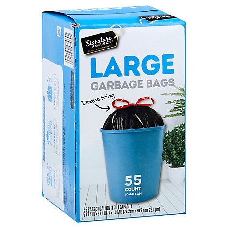 Signature SELECT/Home Garbage Bags Drawstring Large 30 Gallon - 55 Count