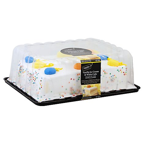 Bakery Ice Cream Cake 1/4 Sheet White Van Iced - 77 Oz