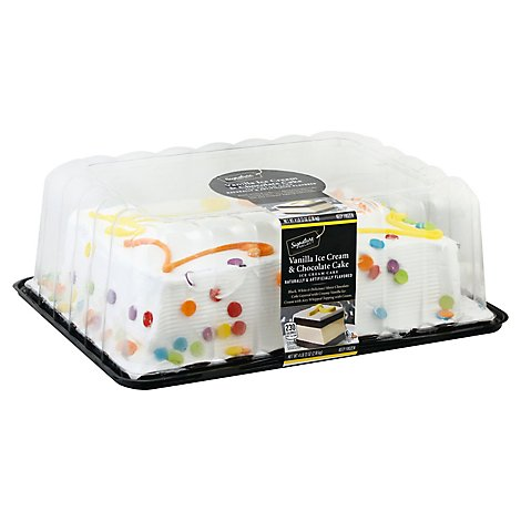 Bakery Ice Cream Cake 1/4 Sheet Chocolate Cake Van Iced - 77 Oz
