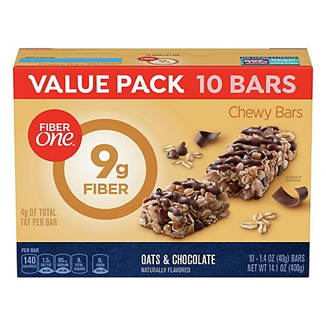 Fiber One Bars Chewy Oats & Chocolate Value Pack - 10-1.4 Oz