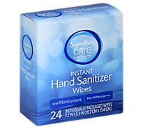 Signature Care Hand Sanitizer Wipes Instant With Moisturizers - 24 Count