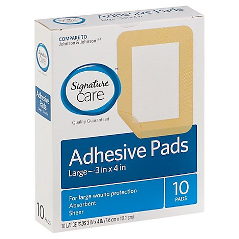Signature Care Adhesive Pads Sheer Absorbent Large - 10 Count
